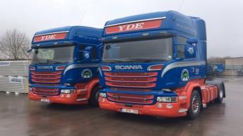 Twee Scania R520 trekkers voor Yde's Bomenvervoer bvba