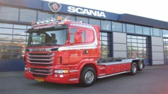 Scania R730 voor Hinderiks uit Raalte