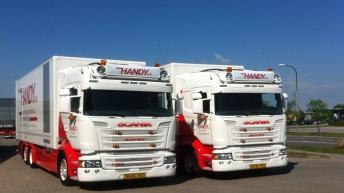 Twee Scania R520 motorwagens voor Handy A/s (DK)