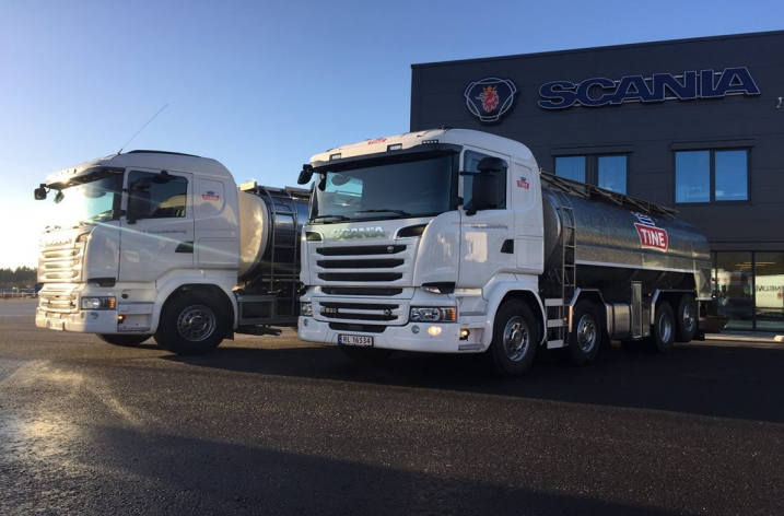 Twee Scania R580 motorwagens voor Tine (NO)
